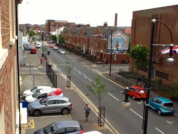 residential street with mural in central Belfast